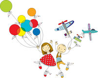 Children play. Girl with colored balloons and the boy with the aircraft Stock Images