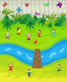 Children play the green lawn near a brook. Vector illustration Royalty Free Stock Photography