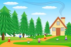 Children play the green lawn near the forest. Vector illustration Stock Images