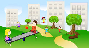 Children play the green lawn near pitch houses Royalty Free Stock Image