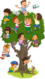 Children play. Happy children playing on the tree stock illustration