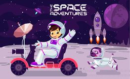Children play and have fun in space on the moon , banner or poster cool  design illustration. Children play and have fun in space on the moon , banner or poster Royalty Free Stock Photos