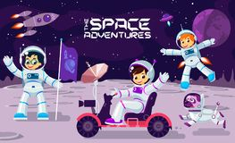 Children play and have fun in space on the moon , banner or poster cool  design illustration. Children play and have fun in space on the moon , banner or poster Royalty Free Stock Photo