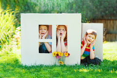 Children play in the house made of cardboard box Stock Photo