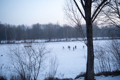 Children play ice hockey on a frozen lake Royalty Free Stock Image