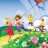 Children play in a kite Stock Photos