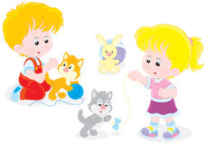 Children play with kittens. Little girl and boy playing with small playful kittens vector illustration