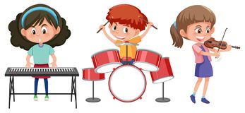 Children play with music instrument royalty free illustration