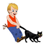 Children play outdoors, hoodlum cheerful little boy pulls the black cats tail. Funny cartoon character. Vector Royalty Free Stock Photos