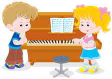 Children play a piano. Little girl and boy playing a piano in a musical class royalty free illustration