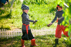 Children play pirates Royalty Free Stock Images