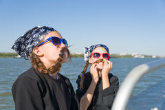 Children play pirates. Children sailing and play pirates Royalty Free Stock Image