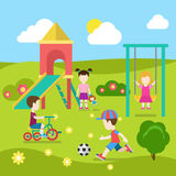 Children play at playground in childhood vector flat collection. Flat style modern playground happy children play. Slide seesaw boy girl soccer. Childhood Royalty Free Stock Image