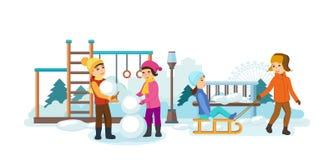 Children play in the playground, sledding, making snowmen, smiling. Royalty Free Stock Photos