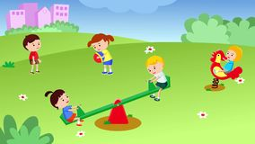 Children Play In The Playground. Seamless looping