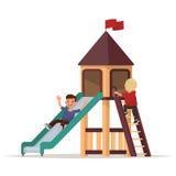 Children play on the playground. Vector illustration Stock Photos