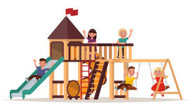 Children play on the playground on a white background. Vector. Illustration Stock Image
