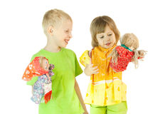 Children play a puppet theatre Stock Photography