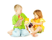 Children play a puppet theatre Royalty Free Stock Photography