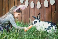 Children play with real rabbit. Laughing child at Easter egg hunt with white pet bunny. Little toddler girl playing with animal in. The garden. Girl feeding royalty free stock image
