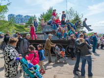 Children play on restored T-34 medium tank. Stock Photo