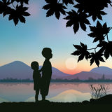 Children play by the river , Vector illustrations Royalty Free Stock Image