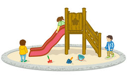 Children play on a slide.  Royalty Free Stock Images