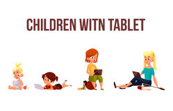 Children play in the smartphone or tablet. Children girls of different ages played in tablet and did not play in street, vector cartoon concept of todays Royalty Free Stock Image