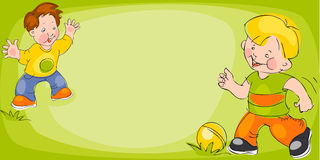 Children play in soccer. Banner Royalty Free Stock Image