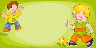 Children play in soccer. Banner royalty free illustration