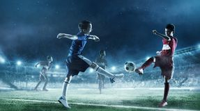 Children play soccer. Mixed media Stock Photography
