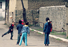 Children Play on the Streets of Azerbaijan Royalty Free Stock Photos