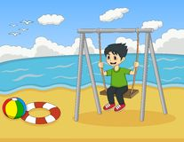 Children play swing on the beach cartoon Stock Images