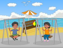 Children play swing on the beach cartoon Royalty Free Stock Image
