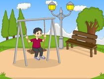 Children play swing in the park cartoon Royalty Free Stock Photography