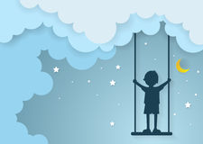 Children play swings on sky with nighttime Royalty Free Stock Photo