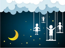 Children play swings on sky with nighttime. Paper art Stock Photos