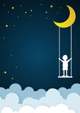 Children play swings on sky with nighttime Royalty Free Stock Photos