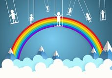 Children play swings on sky Stock Photography