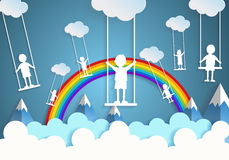 Children play swings on sky Royalty Free Stock Images