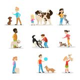 Children play with their dogs set. Collection of happy kid stock illustration