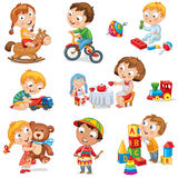 Children play with toys. Little girl riding a wooden horse, hugging a teddy bear, plays with a doll, boy sitting on a tricycle, playing with a toy car, bangs Royalty Free Stock Image