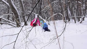 Children play in the winter forest. Slow motion. Two children play in the winter forest. Slow motion stock footage