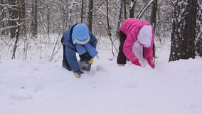Children play in the winter forest. Slow motion. Two children play in the winter forest. Slow motion stock video footage