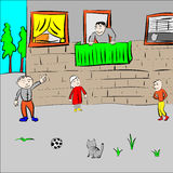 Children play in the yard. Vector Royalty Free Stock Photos