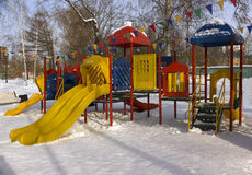 Children playground. In winter in the park Stock Photo