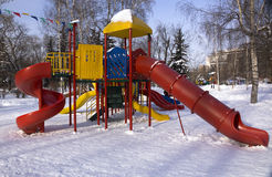 Children playground. In winter in the park Royalty Free Stock Photography