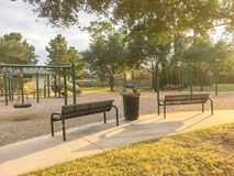 Free Children Playground Activities In Residential Area At Sunset Stock Photos - 104364903