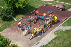 Children playground. Aerial view of the colored children playground in Moscow, Russia Royalty Free Stock Image