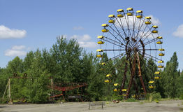 Children playground in Chornobyl. One of those poor abandoned places on the river Pripyat in Chornobyl (Chernobyl), Ukraine Royalty Free Stock Photo
